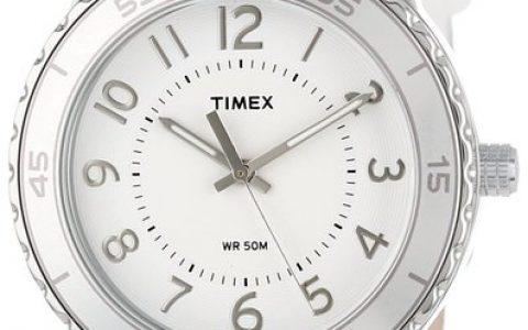海淘女表推荐:Timex天美时 白色鳄鱼压花皮革表带女士手表