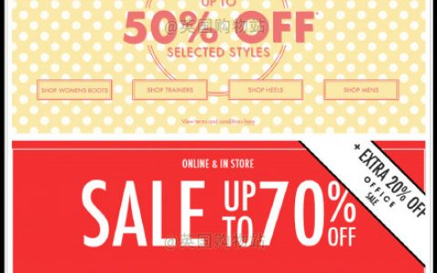 英国最大鞋店之一Office官网复活节特惠Up to 50% OFF