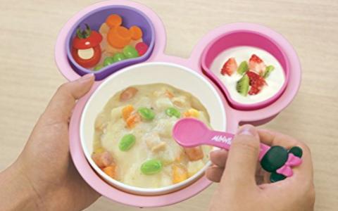 #亚马逊海外购#日亚直邮日本锦化成 单手可拿 婴儿辅食餐具套装