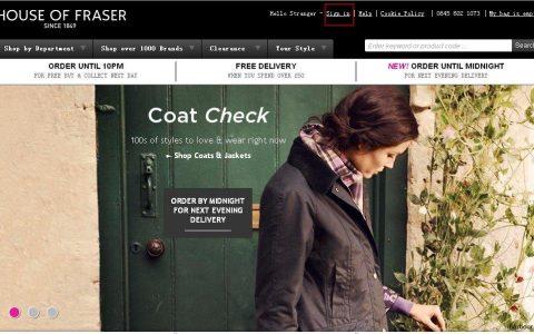 英国百年百货商店House of Fraser官网购物海淘下单教程