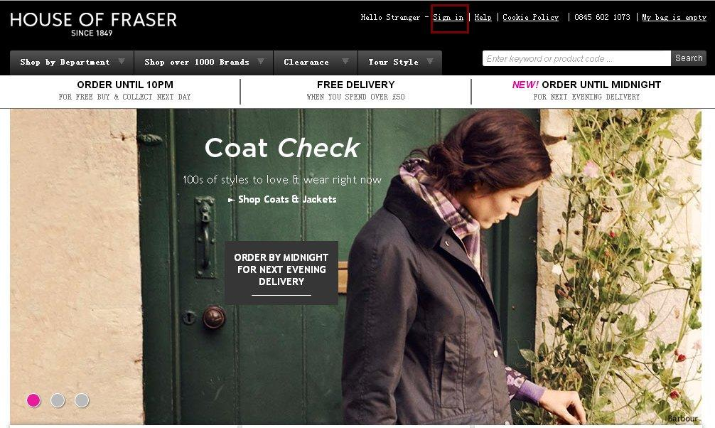 英国老百货House of Fraser官网购物下单教程