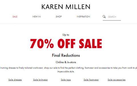 英国高端时尚品牌Karen Millen 官网冬季Sale升级至Up to 70% OFF~!