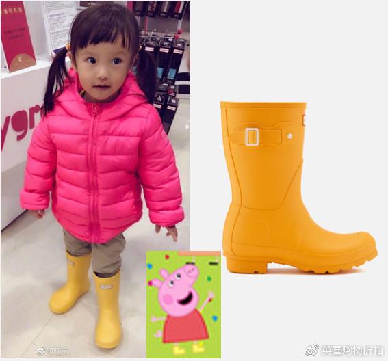 Hunter雨靴7折啦,含欧弟女儿小猪佩奇同款!